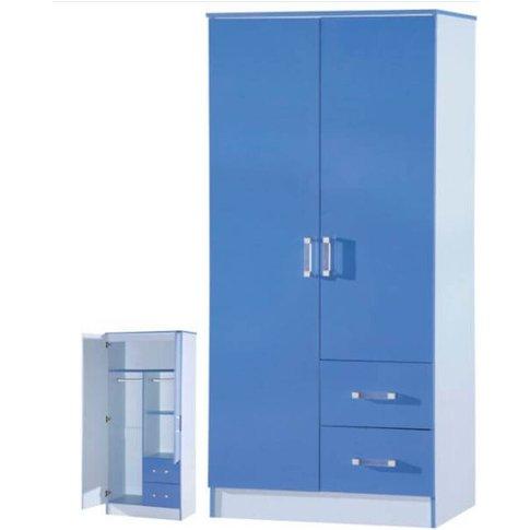 Marina 2 Door Combi Wardrobe Blue Gloss Two Tone