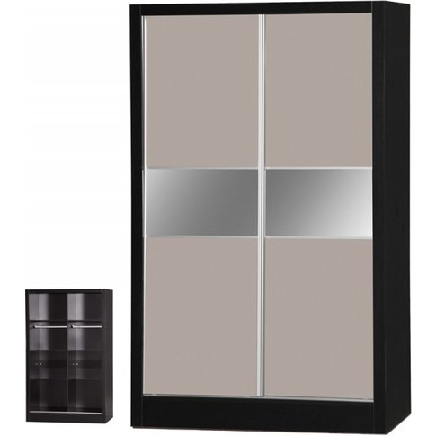 Alpha Grey Gloss & Black 2 Door Sliding Wardrobe