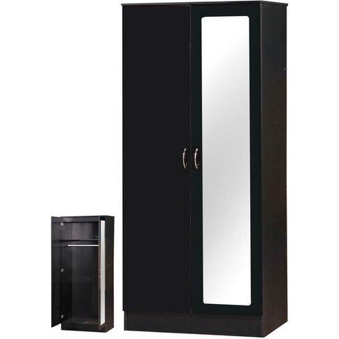 Alpha Black Two Tone 2 Door Double Wardrobe Mirrored
