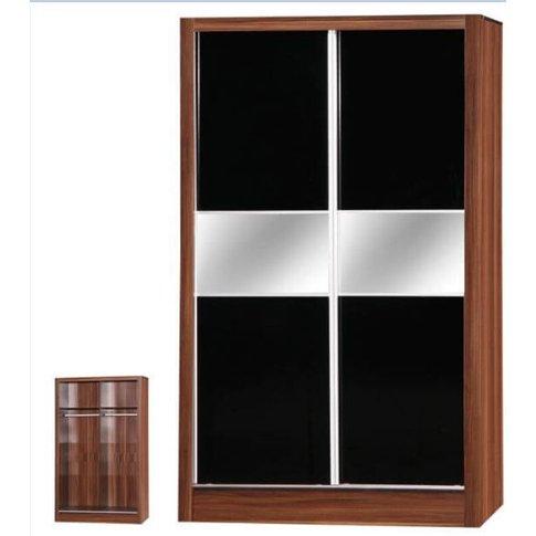 Alpha Black & Walnut 2 Door Sliding Wardrobe Mirrored