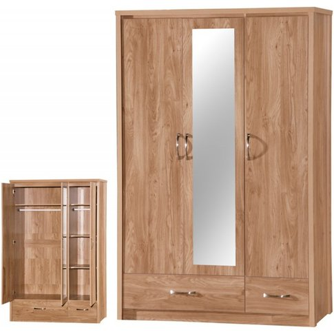 Holland Oak 3 Door Mirrored Wardrobe