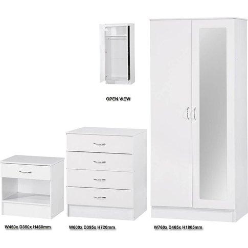 Alpha 3 Piece Set 2 Door Mirrored Wardrobe White Glo...