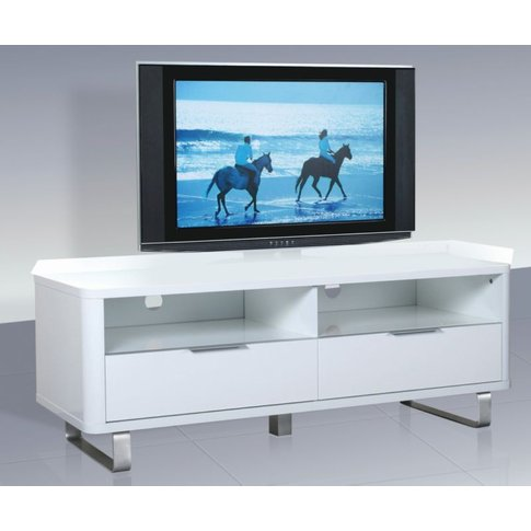 Adolph White High Gloss Tv Unit With Steel Legs