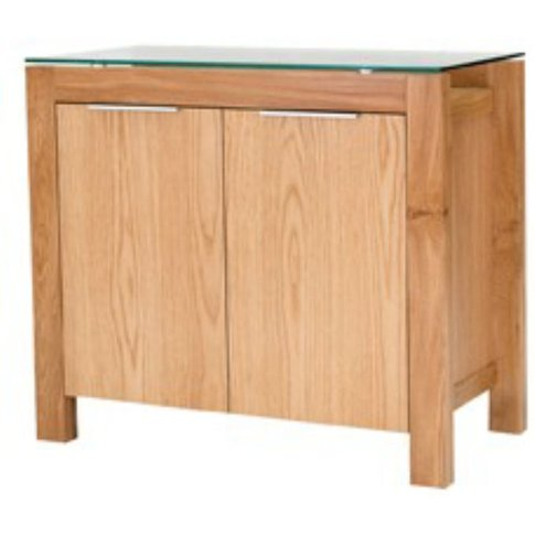 Andenon Solid White Oak Sideboard With Glass Combina...