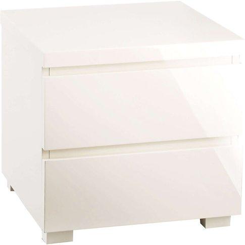 Fabian Cream High Gloss 2 Drawer Bedside Table