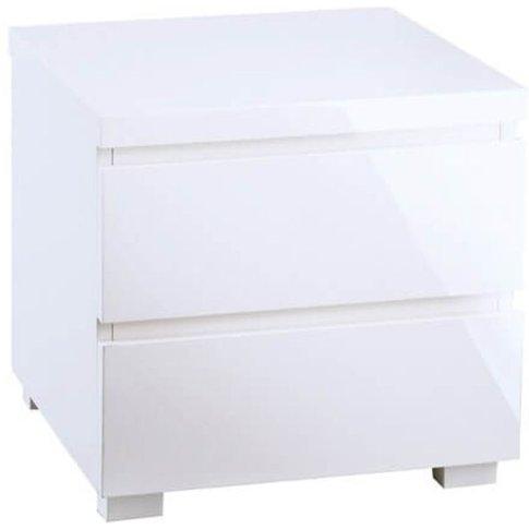 Fabian White High Gloss 2 Drawer Bedside Table