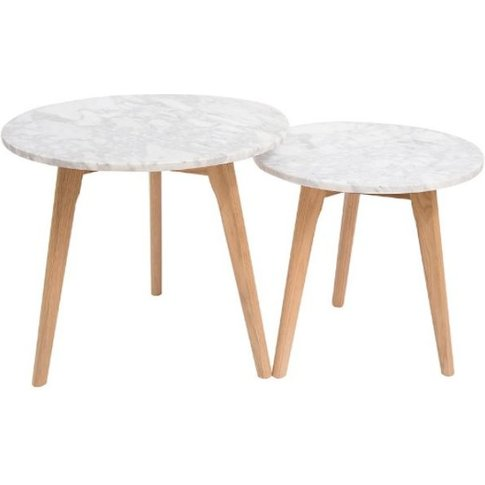 Georgio Real White Marble Top Round Nest Of Tables W...