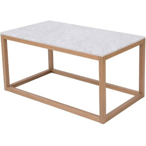 Georgio Solid Oak Frame Coffee Table With Real White...