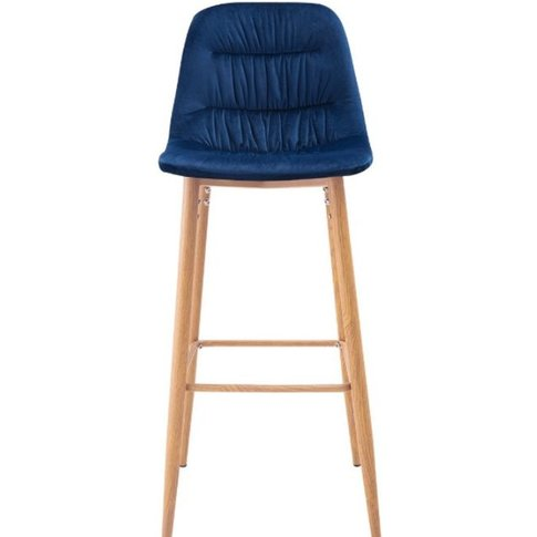 Geremia Blue Velvet Pleated Back Barstool With Black...