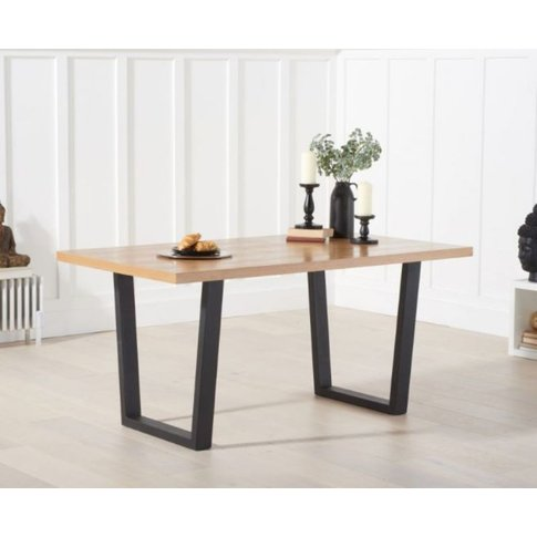 Aaliyah 160cm Solid Oak Top Dining Table With Black ...