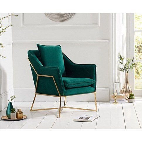 Albert Green Velvet Accent Chair With Crossed Brass Effect Base