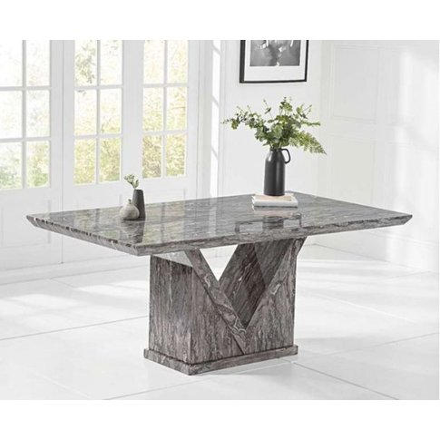 Ana 180cm Grey Marble Dining Table With V Pedestal D...