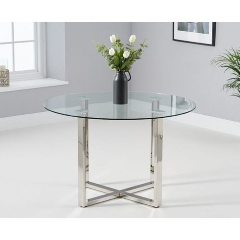 Andrea 120cm Round Glass With Chrome Crossed Base Di...
