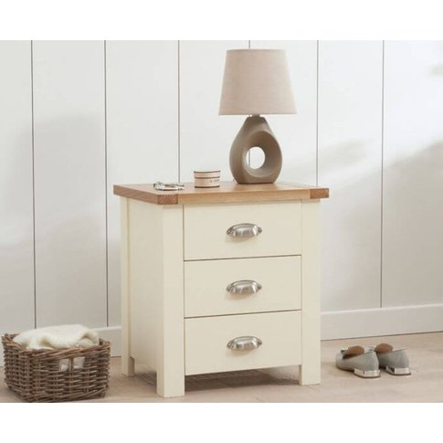 Anna Solid Hardwood Oak And Cream 3 Drawer Nightstan...