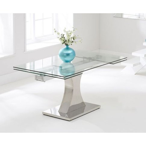 Athena 160cm Glass Extending Dining Table With Sleek...