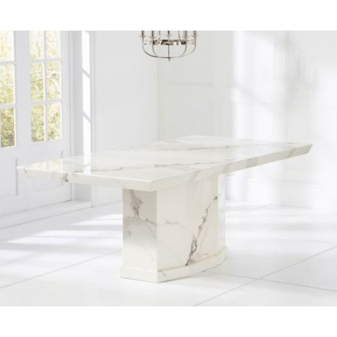 Avery 200cm White Constituted Marble Dining Table With Pedestal&Hellip;