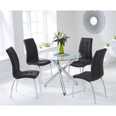 Berit 100cm Glass Dining Table With 4 Brown Californ...
