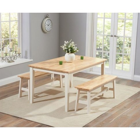 Carina 150cm Oak And Cream Dining Table With 2 Large...