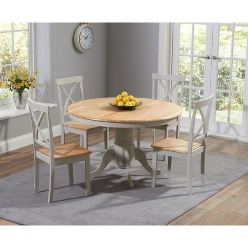Cecilia 120cm Painted Oak & Grey Round Dining Table ...