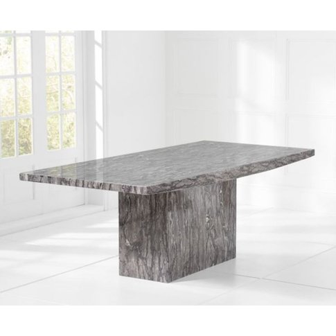 Garth 220cm Grey Marble Dining Table With Solid Marb...