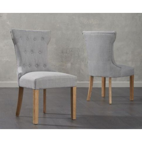 Ghita Grey Fabric Dining Chair With Solid Oak Legs Set Of 2