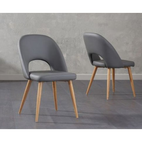 Ghita Pu Grey Dining Chairs With Solid Oak Legs Set ...
