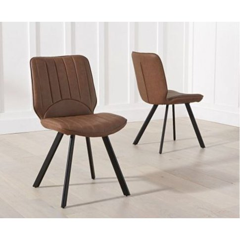 Giana Brown Pu Dining Chairs With Wood Legs Set Of 2