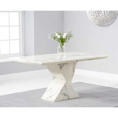 Gudrun 160cm White Marble Dining Table