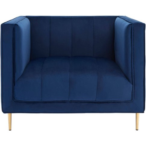 Albert Deep Blue Velvet Armchair With Gold Finish Me...