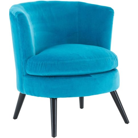 Beatrice Round Teal Blue Plush Velvet Fabric Armchair