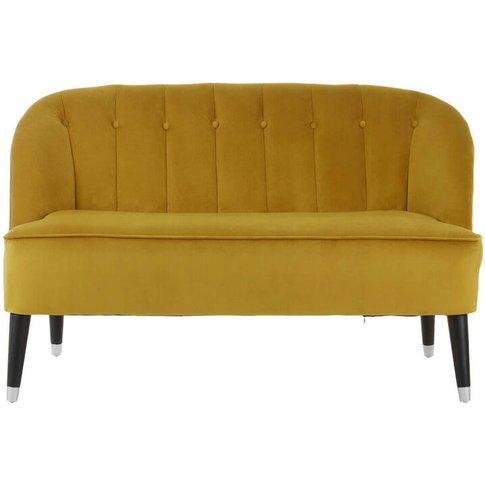 Garth 2 Seater Gold Velvet Sofa With Rubberwood Legs