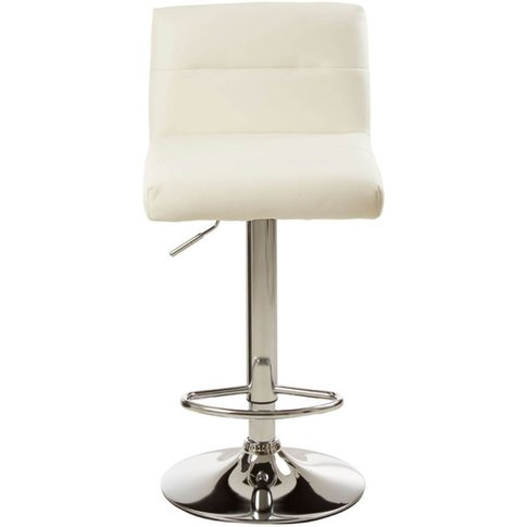 Rune White Faux Leather Seat Bar Stool With Chrome Base