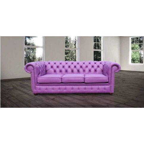 Chesterfield 3 Seater Settee Wineberry Purple Leathe...