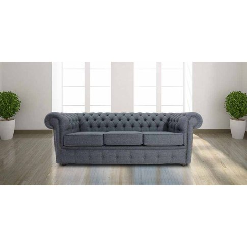 Chesterfield Arnold Wool 3 Seater Sofabed Grey Wool&...