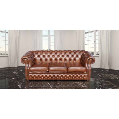 Graham Chesterfield 3 Seater Antique Tan Leather Sof...