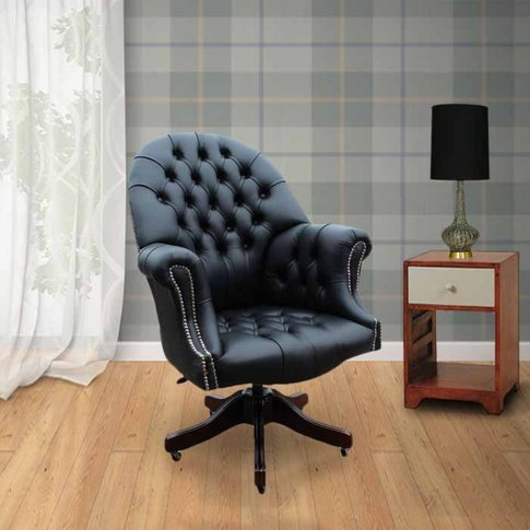 Chesterfield Directors Leather Office Chair Black Si...
