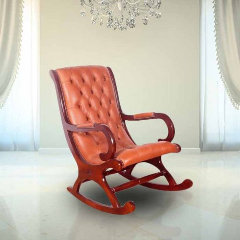 Chesterfield York Rocking Chair Old English Saddle L...