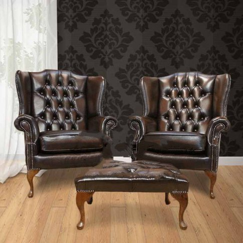 Chesterfield Offer Pair Mallory Flat Wing High Back ...