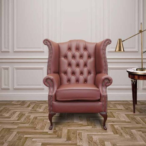 Burgandy Chesterfield Queen Anne Wing Chair | Design...