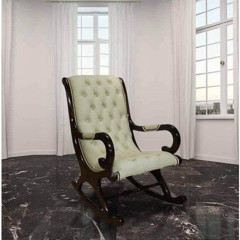 Chesterfield York Slipper Rocking Chair Cream Leather