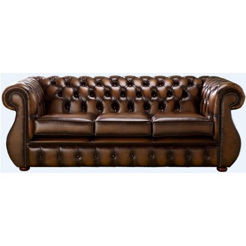 Chesterfield Kimberley Antique Tan Leather 3 Seater ...