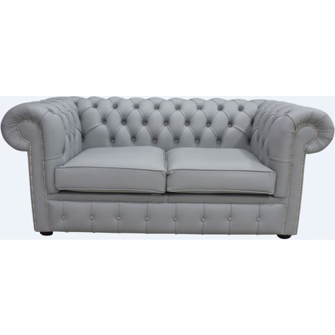 Chesterfield 2 Seater Sofa Settee Shelly Silver Grey...