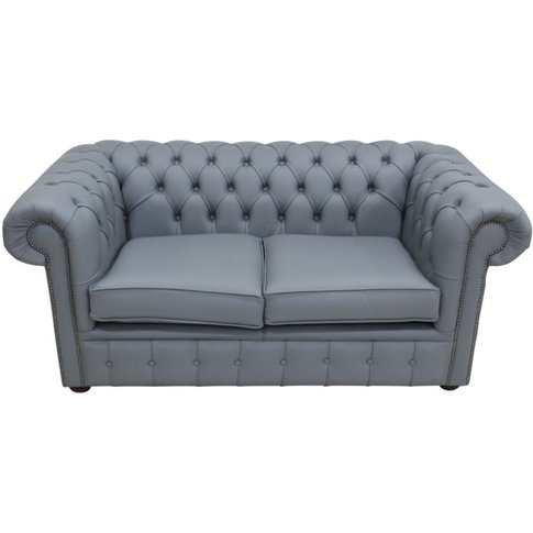 Chesterfield 2 Seater Shelly Piping Grey Leather Sof...