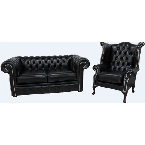 Chesterfield 2 Seater Sofa + Queen Anne Chair Old En...