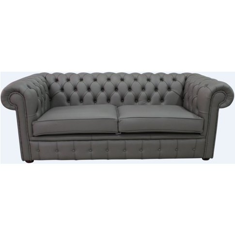 Chesterfield 3 Seater Silver Birch Leather Sofa Offe...