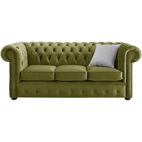 Chesterfield Velvet Fabric Sofa Malta Grass Green 3 ...