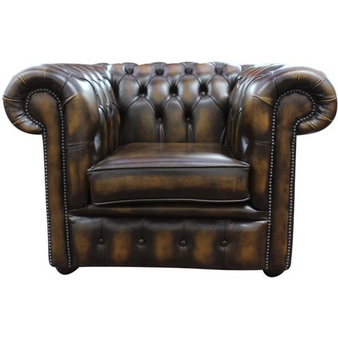 Chesterfield Low Back Club Armchair Antique Gold Lea...