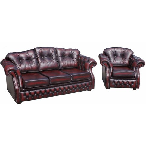 Buy Classic Red Leather Sofa Suite Chesterfield&Hellip;