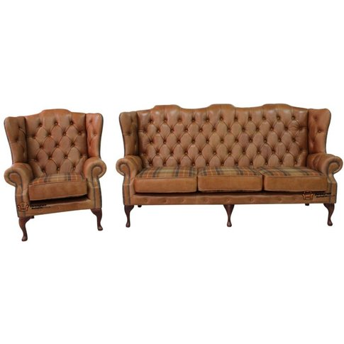 Tan Leather Wool Large Chesterfield High Back Sofa |...