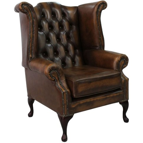 Belvedere Chesterfield Antique Leather Queen Anne Ar...